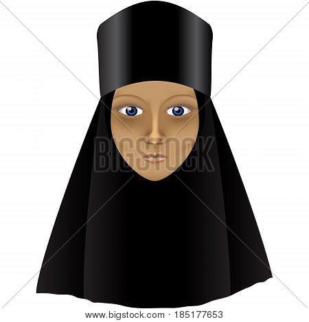 A sad fasting Orthodox nun in black