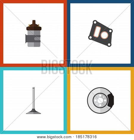 Flat Parts Set Of Gasket, Car Segment, Metal And Other Vector Objects. Also Includes Packing, Combustion, Brake Elements.
