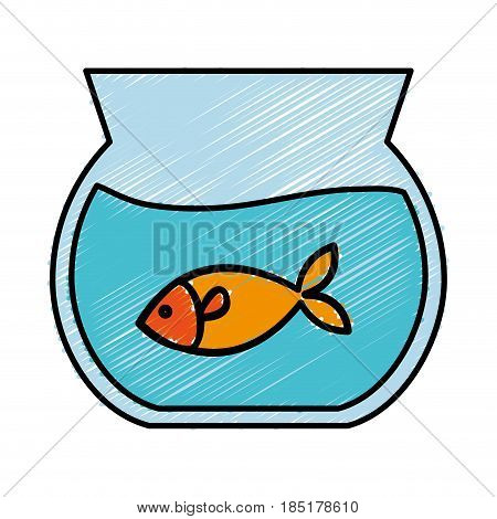 fish in a fishbowl icon over white background. colorful design. vector illustration