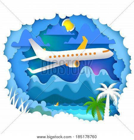 Vector illustration. Paper art and craft style. Cloudy sky appears through layers. Mountains, sun, sea, palms landscape with airplane on the sky. Paper cut for travel, vacation, adventure banners