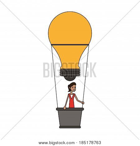 color image cartoon ligth bulb hot air balloon with woman inside vector illustration