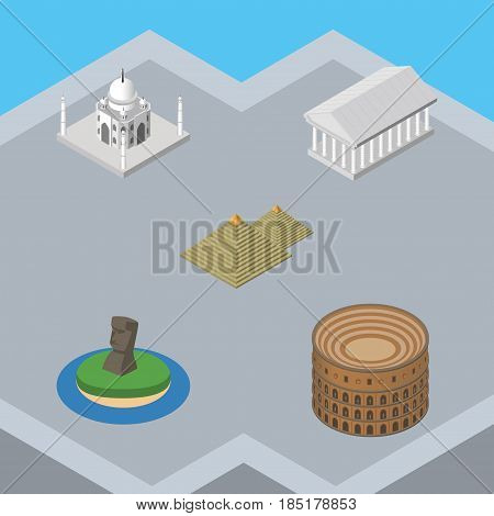 Isometric Travel Set Of Coliseum, India Mosque, Egypt And Other Vector Objects. Also Includes Museum, Taj, Egypt Elements.