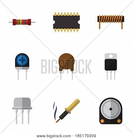 Flat Electronics Set Of Bobbin, Receiver, Triode And Other Vector Objects. Also Includes Resist, Coil, Recipient Elements.