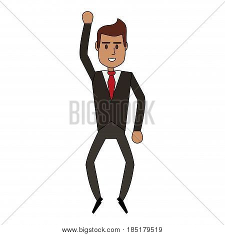 color image cartoon full body executive man with formal suit vector illustration