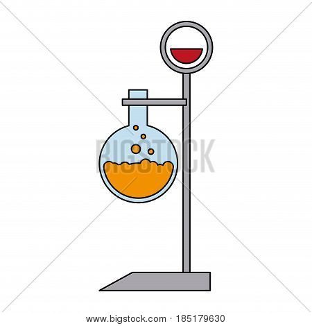 color image cartoon lab setup with glass circular beaker vector illustration