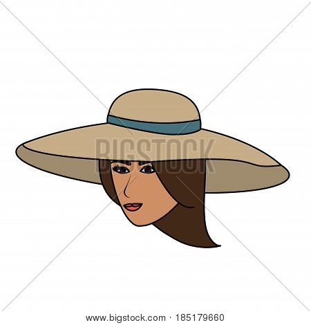 color image cartoon front face woman with beach hat vector illustration