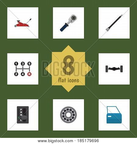 Flat Workshop Set Of Brake Disk, Suspension, Ratchet And Other Vector Objects. Also Includes Manual, Ratchet, Spherical Elements.