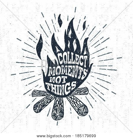 Hand drawn vintage label with textured campfire vector illustration and