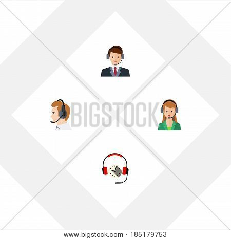 Flat Telemarketing Set Of Telemarketing, Headphone, Hotline And Other Vector Objects. Also Includes Headset, Human, Earphone Elements.