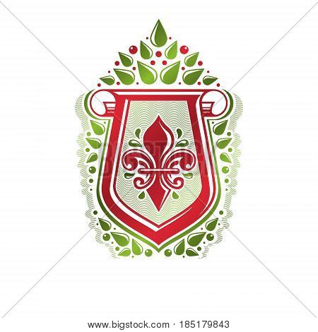 Vintage heraldic emblem created with lily flower royal symbol. Eco product symbol organic and healthy food theme illustration protection shield decorated with cartouche.