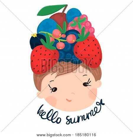 Cute little girl face with strawberry,raspberry,cherry,blueberry,blackberry,red currantblack currant on head. Summer illustration for kids apparelpostercard