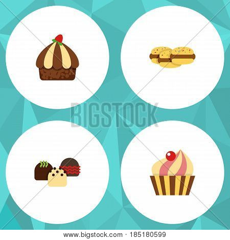 Flat Cake Set Of Sweetmeat, Cake, Cupcake And Other Vector Objects. Also Includes Cake, Dessert, Muffin Elements.