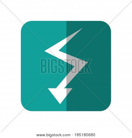 arrow with down direction, icon over turquoise square and white background. vector illustration