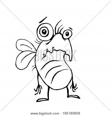 cute sad fly. vector illustration. funny cartoon poor character.