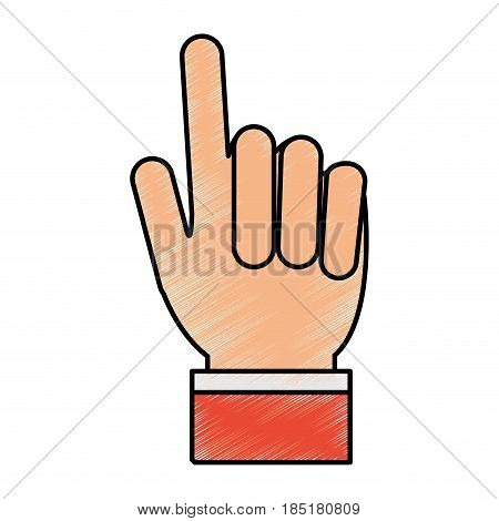 color pencil hand with two fingers up vector illustration
