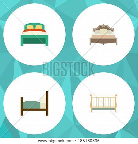 Flat Mattress Set Of Furniture, Cot, Bed And Other Vector Objects. Also Includes Mattress, Bearings, Crib Elements.