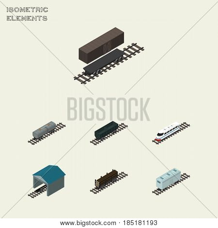 Isometric Train Set Of Oil Wagon, Railroad Carriage, Lumber Shipping And Other Vector Objects. Also Includes Container, Wagon, Coal Elements.