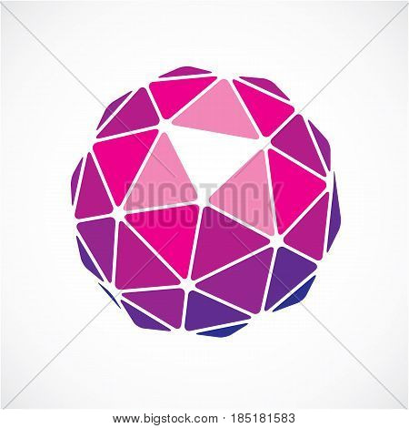 3D Vector Low Poly Purple Spherical Object, Perspective Orb Created With Triangular Facets. Abstract