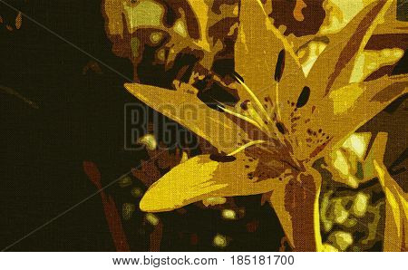 Lily, yellow Lily, Lily flower.Yellow flower.Abstract, abstract floral background, yellow abstract. Abstract flower.Art. Artistic background.