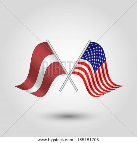 vector two crossed latvian and american flags on silver sticks - symbol of latvia and united states of america