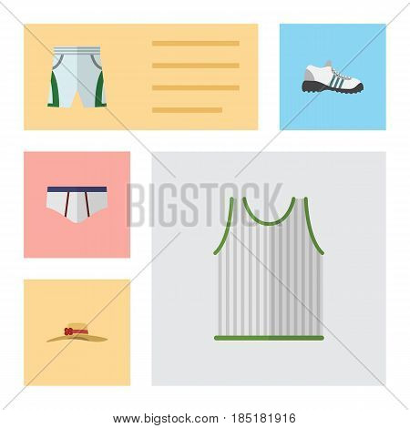 Flat Dress Set Of Singlet, Elegant Headgear, Underclothes And Other Vector Objects. Also Includes Underwear, Sleeveless, Shorts Elements.