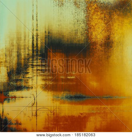 Abstract vintage background with faded grungy texture. Aged backdrop with different color patterns: yellow (beige); brown; gray; red (orange); cyan; black