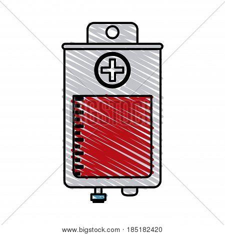 color crayon stripe bag for blood donation vector illustration
