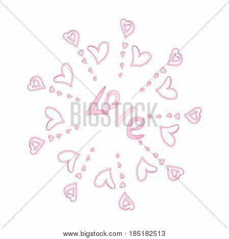 pINK MANDALA with watercolor hearts, VECTOR, LOVE
