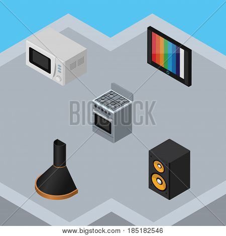Isometric Electronics Set Of Music Box, Television, Stove And Other Vector Objects. Also Includes Device, Cooker, Television Elements.
