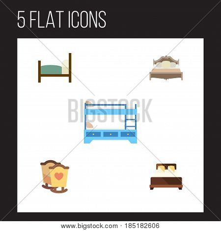 Flat  Set Of Mattress, Bedroom, Bed And Other Vector Objects. Also Includes Bunk, Mattress, Double Elements.