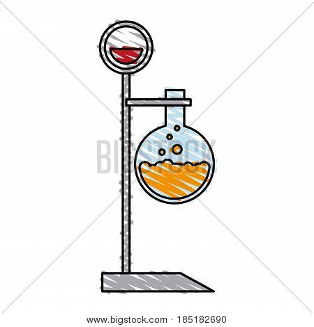 color crayon stripe lab setup with glass circular beaker vector illustration