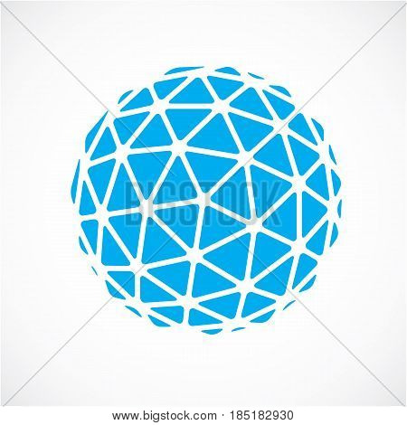 3D Vector Low Poly Blue Spherical Object, Perspective Orb Created With Triangular Facets. Abstract P