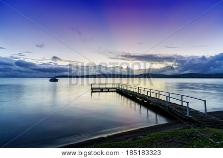 Lake Taupo in beautiful twilight in the evening North Island of New Zealand