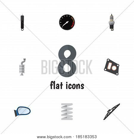 Flat Component Set Of Tachometr, Auto Component, Combustion And Other Vector Objects. Also Includes Combustion, Plug, Tachometr Elements.