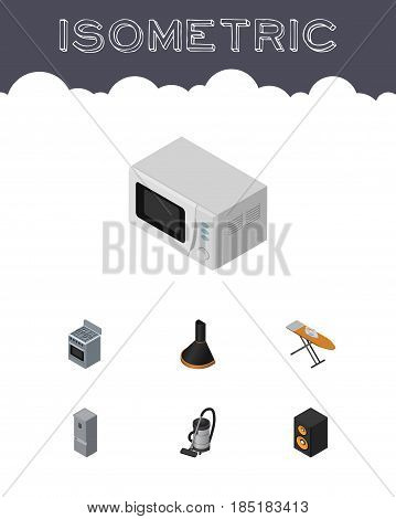 Isometric Device Set Of Vac, Air Extractor, Stove And Other Vector Objects. Also Includes Microwave, Board, Loudspeaker Elements.