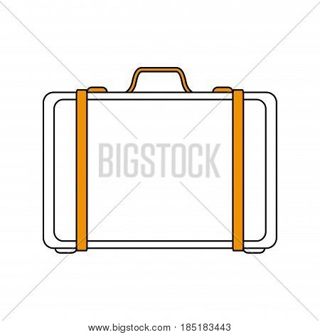 color silhouette image travel briefcase with handle vector illustration