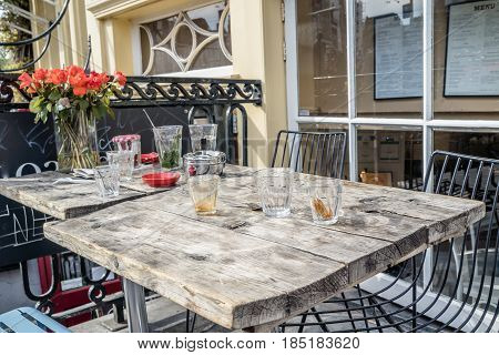 Decorative table in a street restaurant in Amsterdam, Netherlands