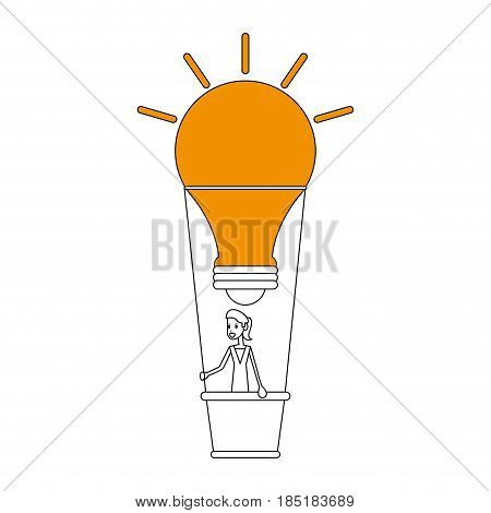 color silhouette image ligth bulb hot air balloon with woman inside vector illustration