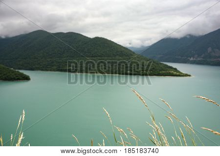 Zhinvali Reservoir In The Mountains