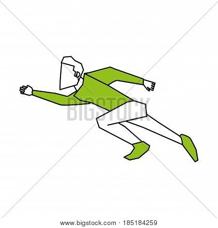 color silhouette image cartoon full body side view super hero flying vector illustration