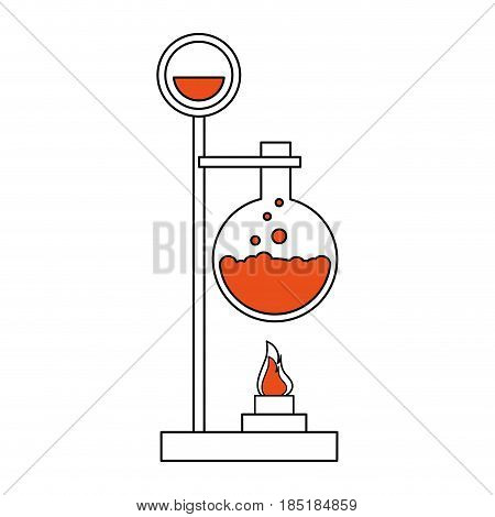 color silhouette image lab setup with glass circular beaker vector illustration
