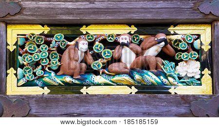 Newly renovated famous three wise monkeys at Toshogu Shrine Nikko Japan