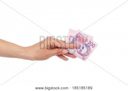 Two Hundred Hryvnias In The Woman's Hand, Isolated