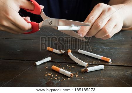 Hand hold scissors cutting for destroy many tobaccoes concecpt no smoke forever.