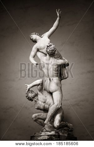 Statue 'The Rape of the Sabine Womenâ?? by Giambologna in Palazzo Vecchio in Florence Italy.