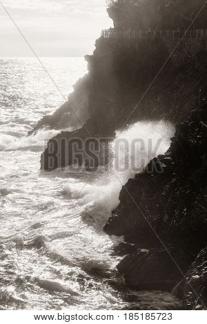 Misty seascape in Cinque Terre in Italy