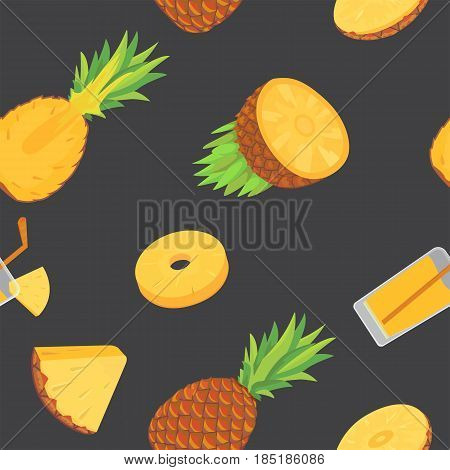 Vector seamless pattern with pineapples. Pineapple background eps10