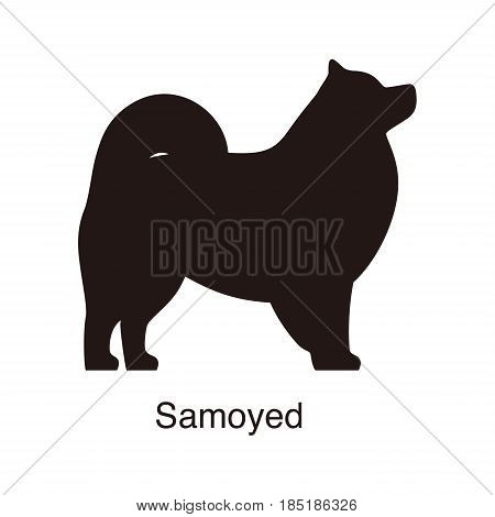 Samoyed Dog Silhouette, Side View, Vector