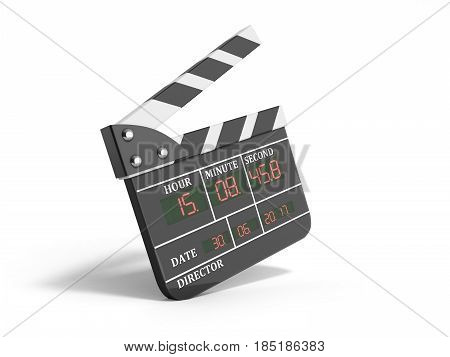Movie Clapper Board High Quality 3D Render Isolated On White