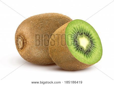 Isolated kiwi fruit. Collection of whole and cut kiwi isolated on a white background with clipping path.